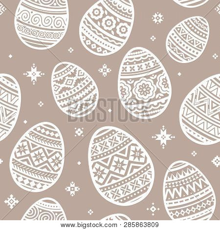 Seamless Pattern Of Easter Egg Vector Flat Icons Painted In Traditional Style. Eggs Isolated Vector.