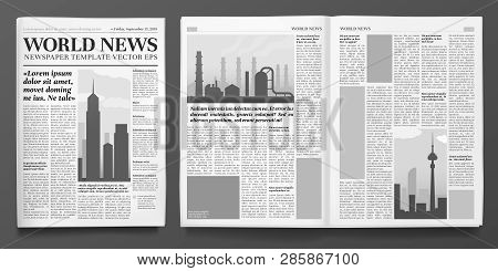 Business Newspaper Template. Financial News Headline, Newspapers Pages And Finance Journal Isolated