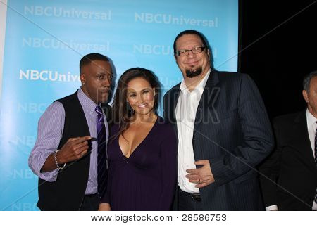 LOS ANGELES - JAN 6:  Arsenio Hall, Tia Carrere, Penn Jillette arrives at the NBC Universal All-Star Winter TCA Party at The Athenauem on January 6, 2012 in Pasadena, CA