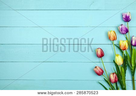 Spring Flower Of Multi Color Tulips On Wood ,flat Lay Image For Holiday Greeting Card For Mother's D