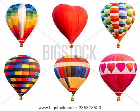 Collection Of Colorful Hot Air Balloon On Isolated / White Background