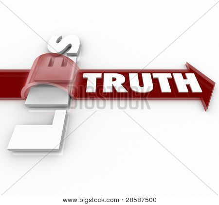 The word Truth rides a red arrow over the word Lies, symbolizing the fact that being sincere and honest beats being deceitful and dishonest
