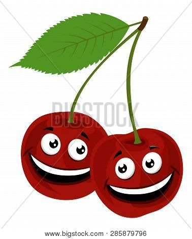 Cherry. Vector Illustration Of A Funny Pair Of Cherries With Face, On White Background.