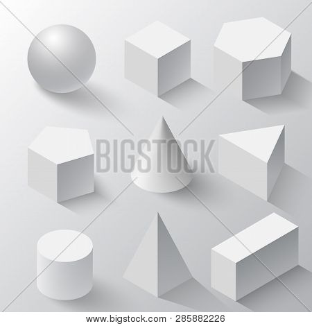 Realistic Set Of Basic 3d Shapes. White Cube, Cylinder, Sphere And Cone On A White Background. Reali