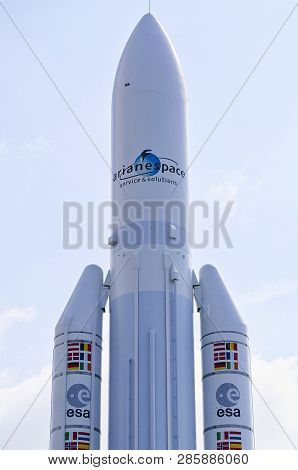 Paris, France - June 24, 2017 - European Expendable Launch System Ariane Rocket Close-up At The Le B