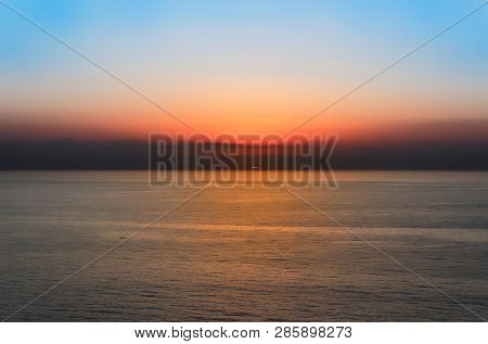 Beautiful Colorful Sunset Above Sea. Photo Was Taken From A Riaci Beach Near Tropea, Italy
