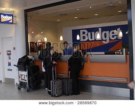 KASTRUP/COPENHAGEN/DENMARK _ Traveler consumers at Budget car rental stand at Copenahgen Interntional Airport today on sunday 8 Jan 2012 ** Note: Slight graininess, best at smaller sizes