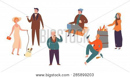 Set Poor Rich Character Socialclass Inequality. Homeless Man And Women And Successful Rich People. C