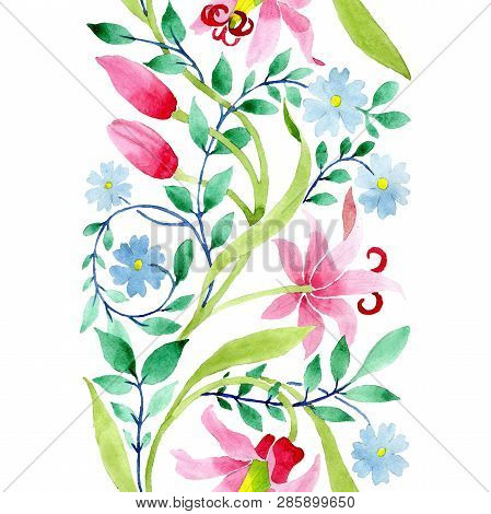 Ornament Pink And Blue Floral Botanical Flowers. Watercolor Background Illustration Set. Seamless Ba