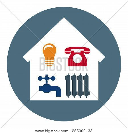 Set Of 4 Utilities Icons In Home. Symbols Of Power, Water, Gas, Heating. Vector Illustration For You
