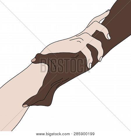Holding Hands Showing Unity. Multinational Equality. Team, Partner, Alliance Concept. Relationship I