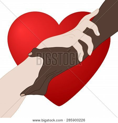 Charity Concept. Giving Love. Holding Hands Showing Unity. Multinational Equality. Team, Partner, Al
