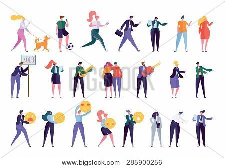 Collection Creative Various Lifestyle Character. Set Crowd Of People Performing Activity - Walking D
