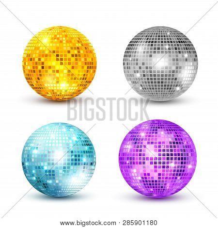 Disco Ball Isolated Set Illustration. Night Club Party Light Element. Bright Mirror Golden Ball Desi