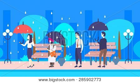mix race businesspeople holding umbrella unprotected businessman under rain protection concept male female characters full length urban park cityscape flat horizontal poster