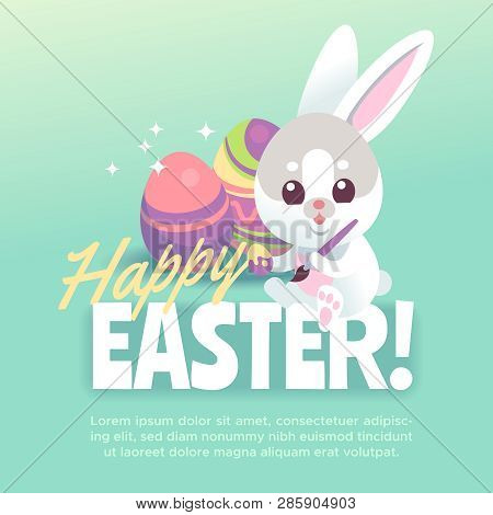 Happy Easter Bunny Poster. Cute White Rabbit With Easter Egg Cartoon Bunnies Celebration Greeting Ca