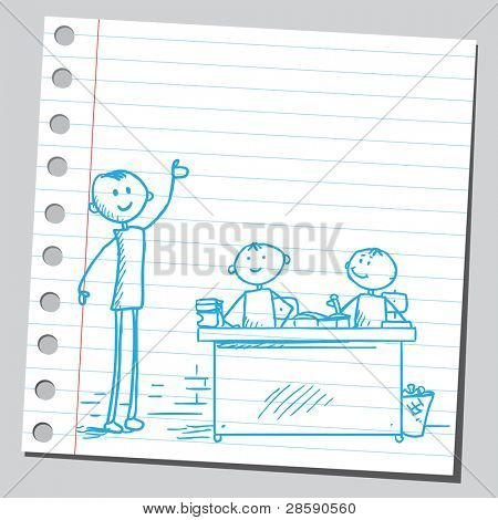 Teacher and pupils in the classroom