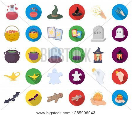 Cartoon, Flat And White Magic Cartoon, Flat Icons In Set Collection For Design. Attributes And Sorce