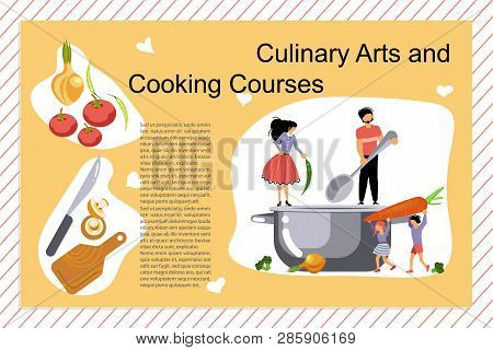 Culinary Art And Cooking Courses Poster, Banner Template In Flat. Happy Family Cooking Together A So