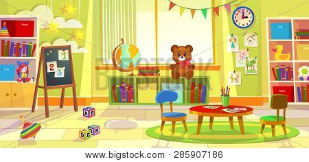 Kids Playroom. Kindergarten Child Apartment Game Classroom Learning Toys Room Preschool Class Table
