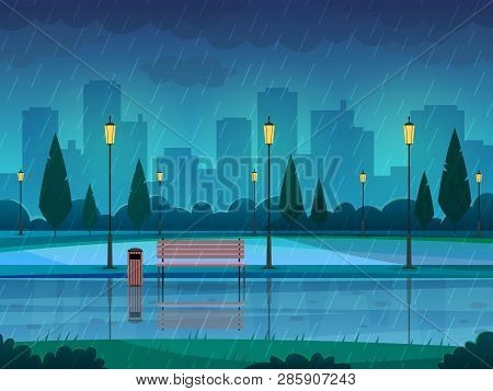 Rainy Day Park. Raining Public Park Rain City Nature Season Path Bench Street Lamp Landscape, Flat V