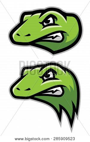 Green Gecko, Lizard, Reptile Head Logo Mascot