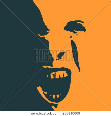 Demonic Ugly Face. Devil Scream Character. Demon Or Monster Screaming With In An Open Mouth As A Fro