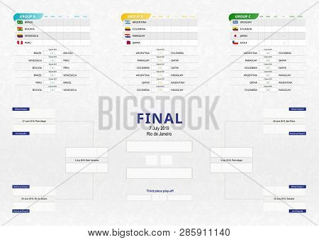 Vector Match Schedule Of Football Tournament, All Matches Time And Place. Soccer Tournament Bracket,