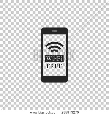 Smartphone With Free Wi-fi Wireless Connection Icon Isolated On Transparent Background. Wireless Tec