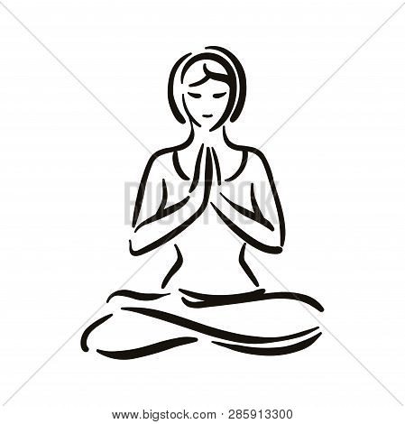 Yoga Pose Illustration On White Backgroundrelax And Meditate. Healthy Lifestyle. Balance Training.