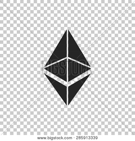 Cryptocurrency Coin Ethereum Eth Icon Isolated On Transparent Background. Physical Bit Coin. Digital