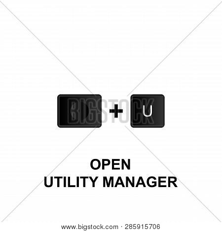 Keyboard Shortcuts, Open Utility Manager Icon. Can Be Used For Web, Logo, Mobile App, Ui, Ux On Whit