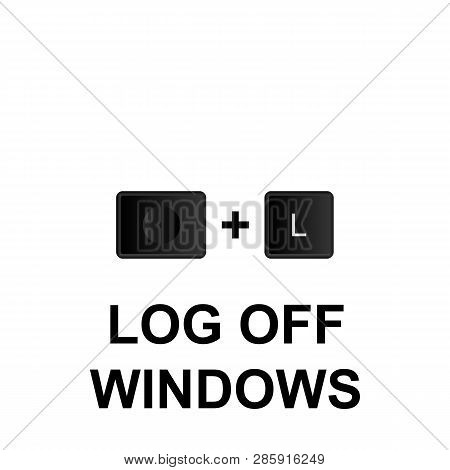 Keyboard Shortcuts, Log Off Windows Icon. Can Be Used For Web, Logo, Mobile App, Ui, Ux On White Bac