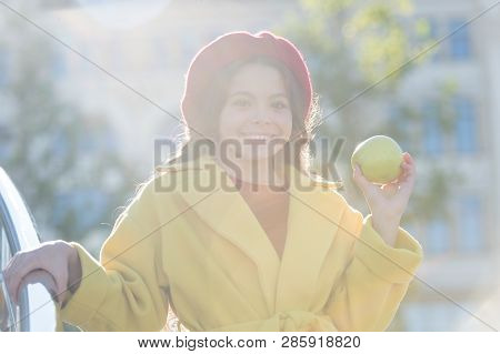 She Likes Apple Best Of All Fruits. French Fashion. Happy Little Girl Holding Juicy Green Apple. Chi