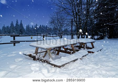 Wooden Garden Set From Table And Benches In A Winter. Sonnenberg, Germany