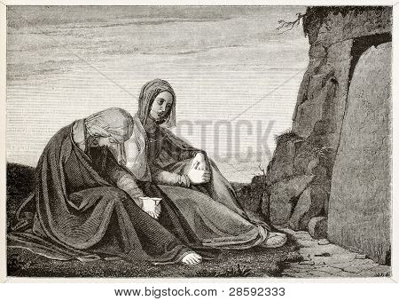 Holy women in front of Jesus sepulcher. Created by Vent, published on Magasin Pittoresque, Paris, 1845