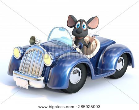 3d Rendering Of A Cute Smiling Cartoon Mouse Waving His Hand While Sitting In A Cabriolet Car That H