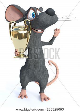 3d Rendering Of A Cute Smiling Cartoon Mouse Holding Golden Prize Trophy Award And Looking Like A Ch