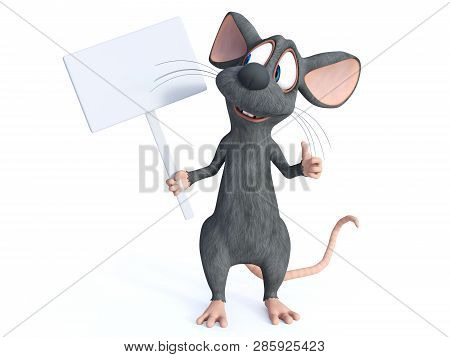 3d Rendering Of A Cute Smiling Cartoon Mouse Holding A Blank Sign. He Is Looking At The Sign And Loo