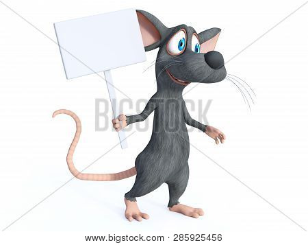 3d Rendering Of A Cute Smiling Cartoon Mouse Holding A Blank Sign While Marching. White Background.