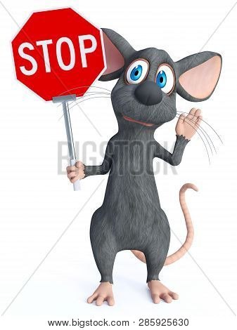3d Rendering Of A Cute Cartoon Mouse Holding A Red Stop Sign And Holding His Hand Up Like He Is Sayi