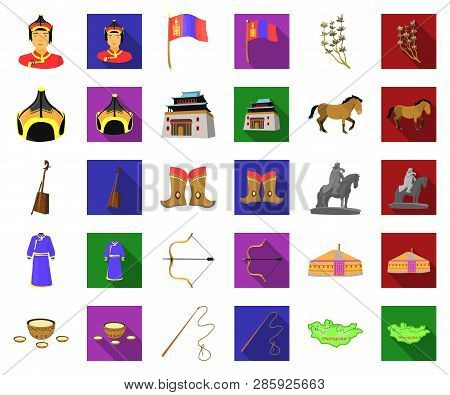 Country Mongolia Cartoon, Flat Icons In Set Collection For Design.territory And Landmark Vector Symb