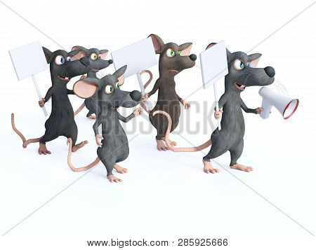 3D rendering of cute cartoon mice holding blank signs and looking upset while marching and protesting. Maybe they are on a strike. White background. poster