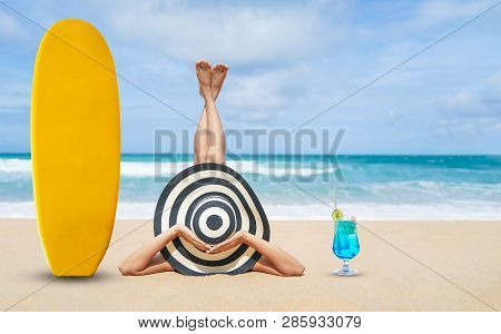 Young Fashion Woman Relax On The Beach, Happy Island Lifestyle, White Sand, ฺblue Cloudy Sky And Cry