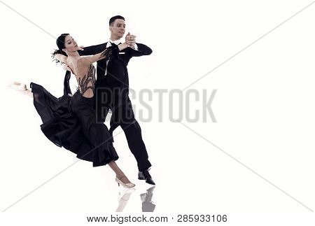 Ballroom Dance Couple In A Dance Pose Isolated On White Background. Ballroom Sensual Proffessional D