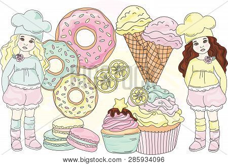 Sweet Life Dessert Cartoon Confectionary Vector Illustration Set For Print, Fabric And Decoration.