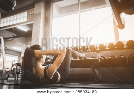 Portrait Young Attractive Healthy Woman Body Curve Fitness Doing Sit Up Exercises Workout With Ball