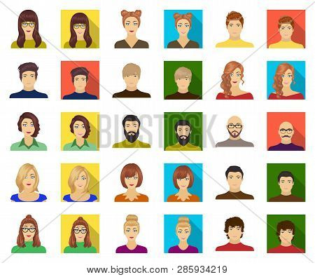 Avatar And Face Cartoon, Flat Icons In Set Collection For Design. A Persons Appearance Vector Symbol