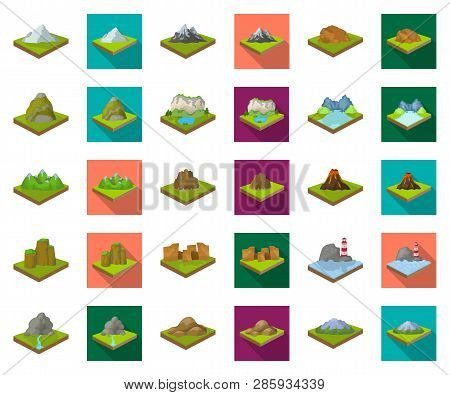 Mountains, Massive Cartoon, Flat Icons In Set Collection For Design. The Surface Of The Earth Vector