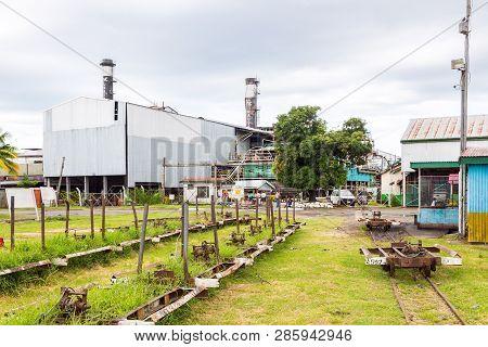 Lautoka, Fiji - Jan 4 2015: Lautoka Sugar Mill With Abandoned Narrow Gauge Railway. The Sugar Factor
